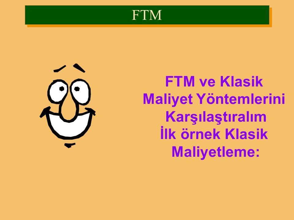 FTM FTM ve Klasik Maliyet Yöntemlerini Karşılaştıralım İlk örnek Klasik Maliyetleme: