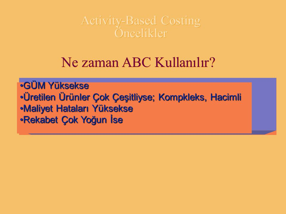 Activity-Based Costing Öncelikler