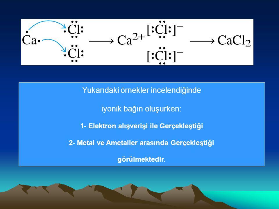 1- Elektron alışverişi ile Gerçekleştiği