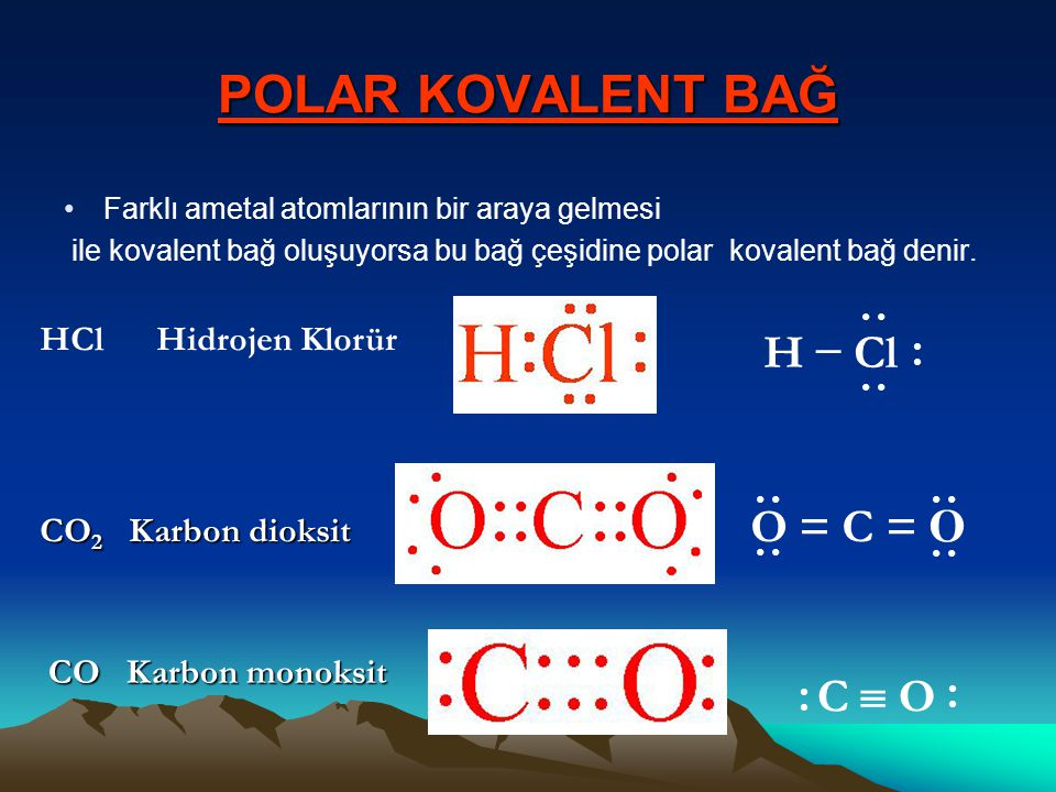 POLAR KOVALENT BAĞ H − Cl O = C = O C  O HCl Hidrojen Klorür