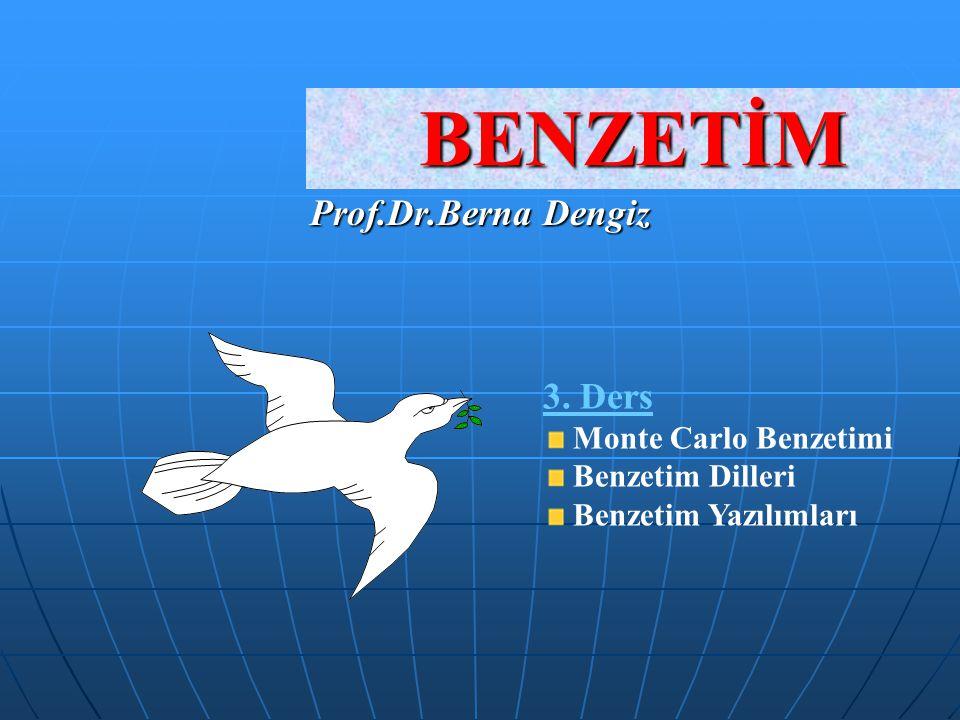 BENZETİM Prof.Dr.Berna Dengiz 3. Ders Monte Carlo Benzetimi
