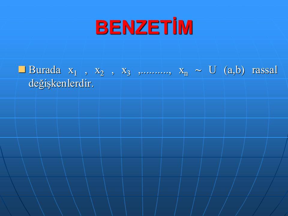 BENZETİM Burada x1 , x2 , x3 ,.........., xn ~ U (a,b) rassal değişkenlerdir.