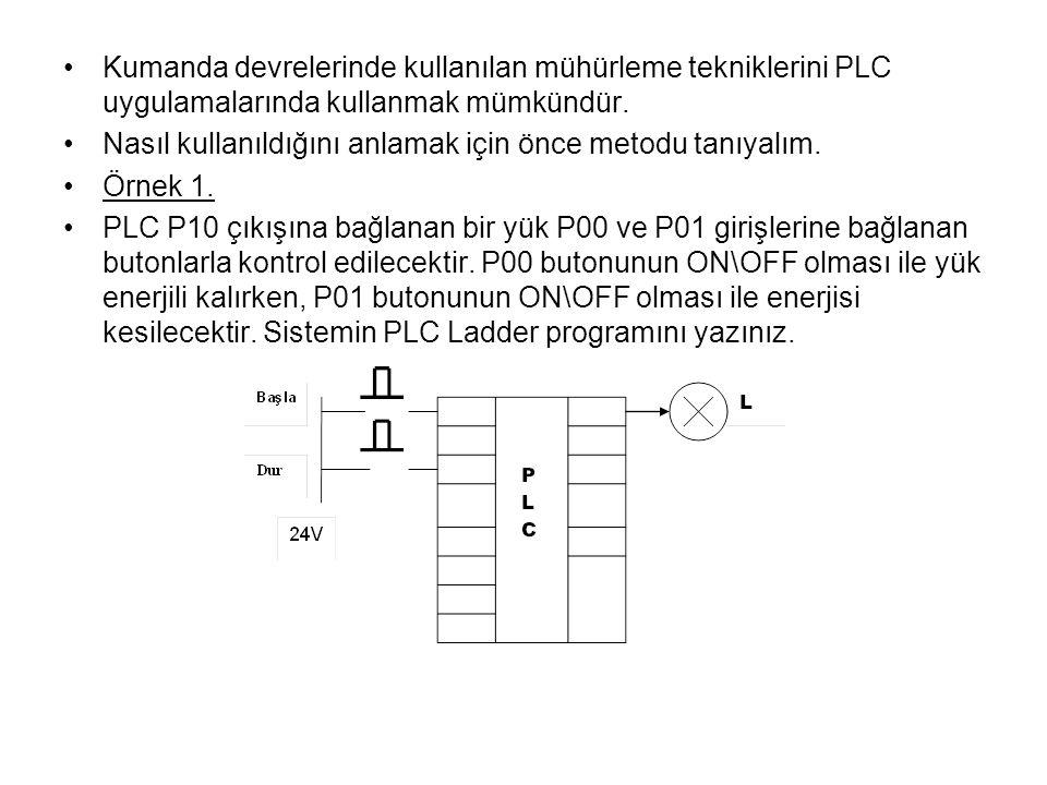 Kumanda devrelerinde kullanılan mühürleme tekniklerini PLC uygulamalarında kullanmak mümkündür.