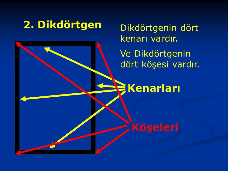 2. Dikdörtgen Kenarları Köşeleri Dikdörtgenin dört kenarı vardır.