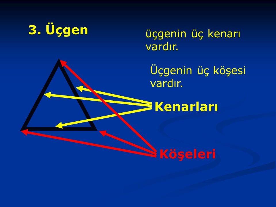 3. Üçgen Kenarları Köşeleri üçgenin üç kenarı vardır.