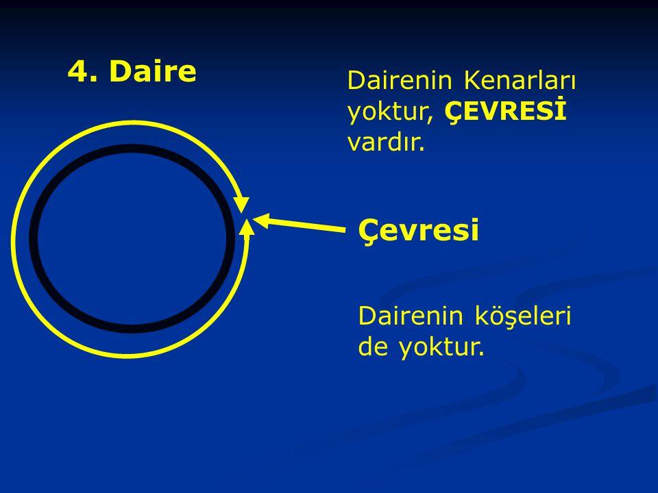 4. Daire Çevresi Dairenin Kenarları yoktur, ÇEVRESİ vardır.