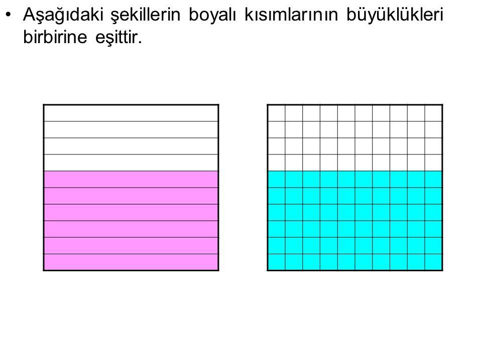 Aşağıdaki şekillerin boyalı kısımlarının büyüklükleri birbirine eşittir.