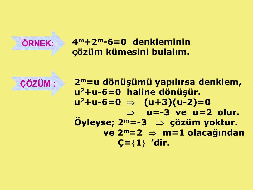 ÖRNEK: 4m+2m-6=0 denkleminin. çözüm kümesini bulalım. ÇÖZÜM : 2m=u dönüşümü yapılırsa denklem, u2+u-6=0 haline dönüşür.