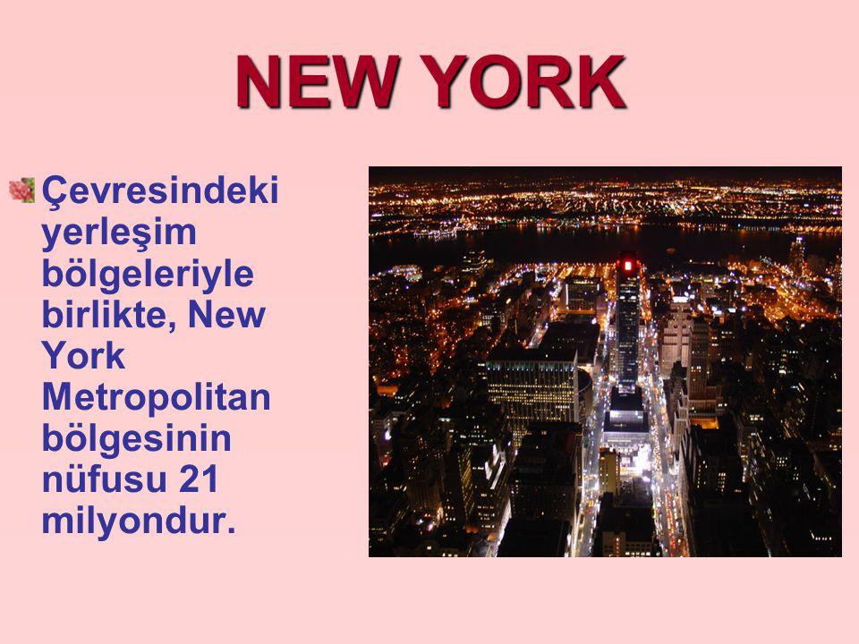 NEW YORK Çevresindeki yerleşim bölgeleriyle birlikte, New York Metropolitan bölgesinin nüfusu 21 milyondur.