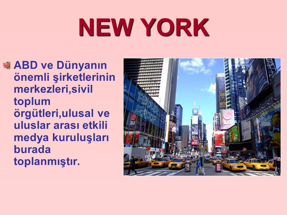 NEW YORK ABD ve Dünyanın önemli şirketlerinin merkezleri,sivil toplum örgütleri,ulusal ve uluslar arası etkili medya kuruluşları burada toplanmıştır.