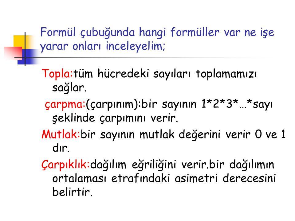 Formül çubuğunda hangi formüller var ne işe yarar onları inceleyelim;