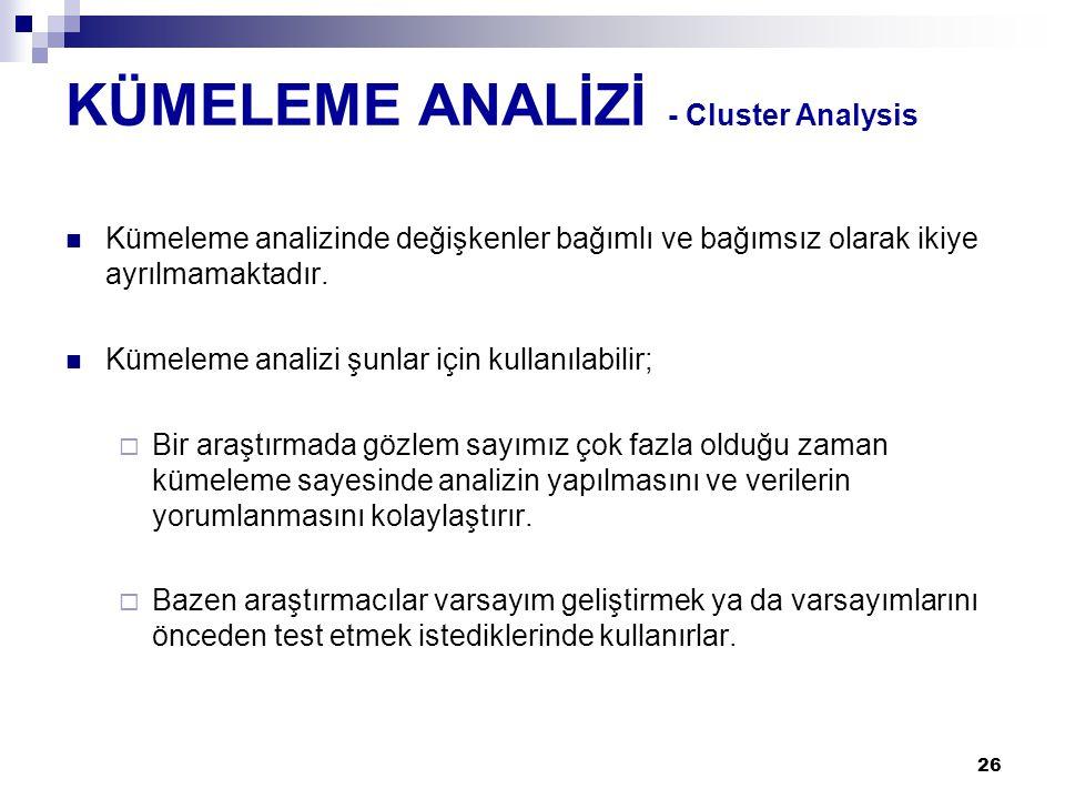 KÜMELEME ANALİZİ - Cluster Analysis