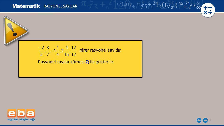 birer rasyonel sayıdır. Rasyonel sayılar kümesi Q ile gösterilir.