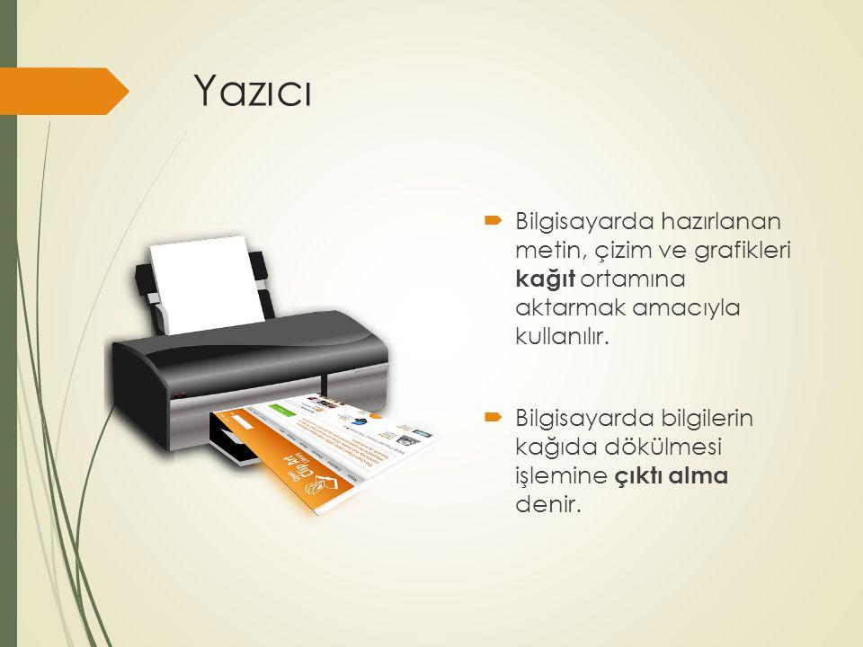 Yazıcı Bilgisayarda hazırlanan metin, çizim ve grafikleri kağıt ortamına aktarmak amacıyla kullanılır.