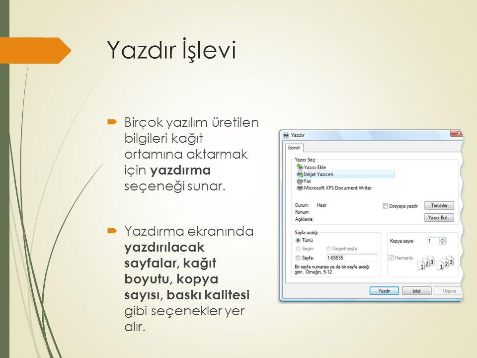 Yazdır İşlevi Birçok yazılım üretilen bilgileri kağıt ortamına aktarmak için yazdırma seçeneği sunar.