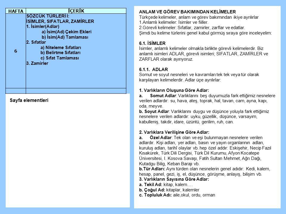 Sayfa elementleri HAFTA İÇERİK 6 SÖZCÜK TÜRLERİ I: