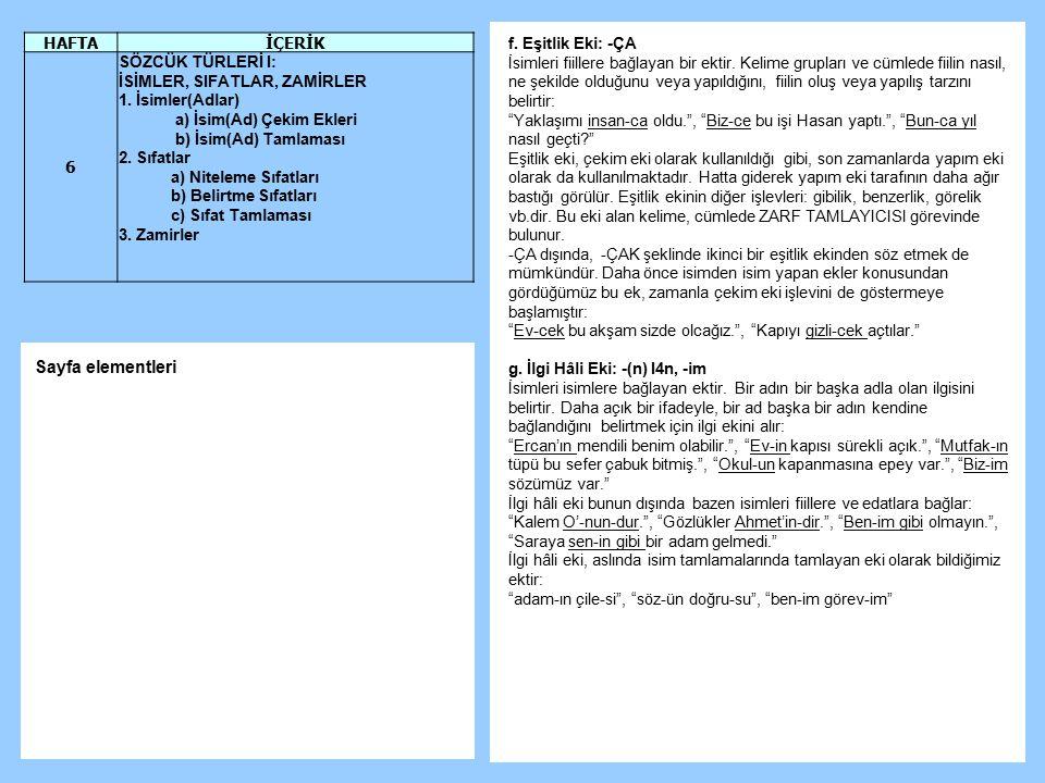 Sayfa elementleri HAFTA İÇERİK 6 SÖZCÜK TÜRLERİ I: f. Eşitlik Eki: -ÇA