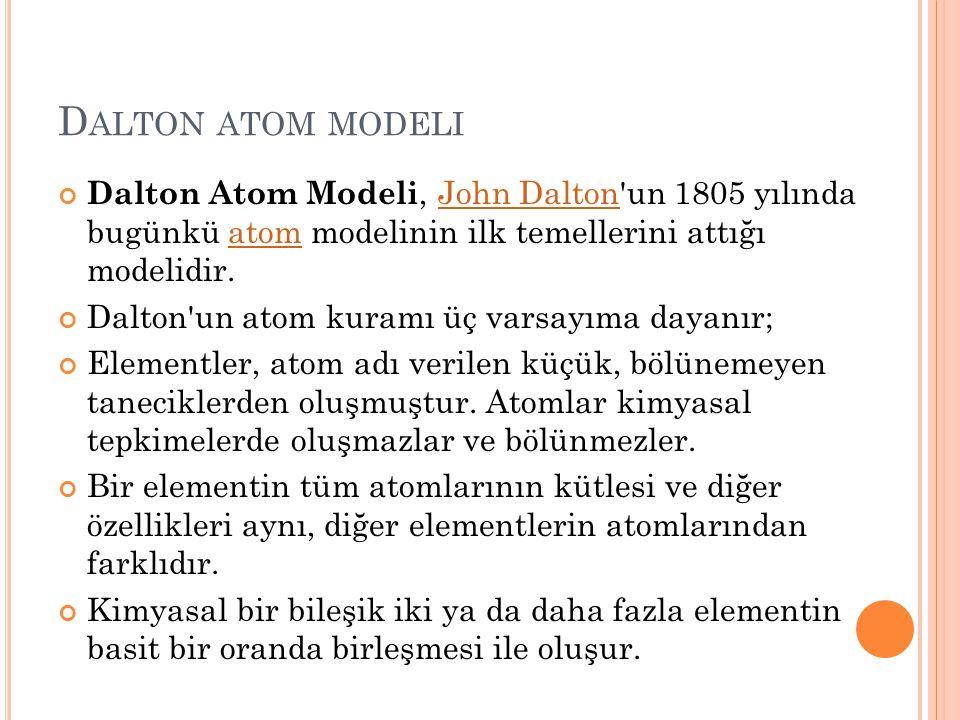 Dalton atom modeli Dalton Atom Modeli, John Dalton un 1805 yılında bugünkü atom modelinin ilk temellerini attığı modelidir.