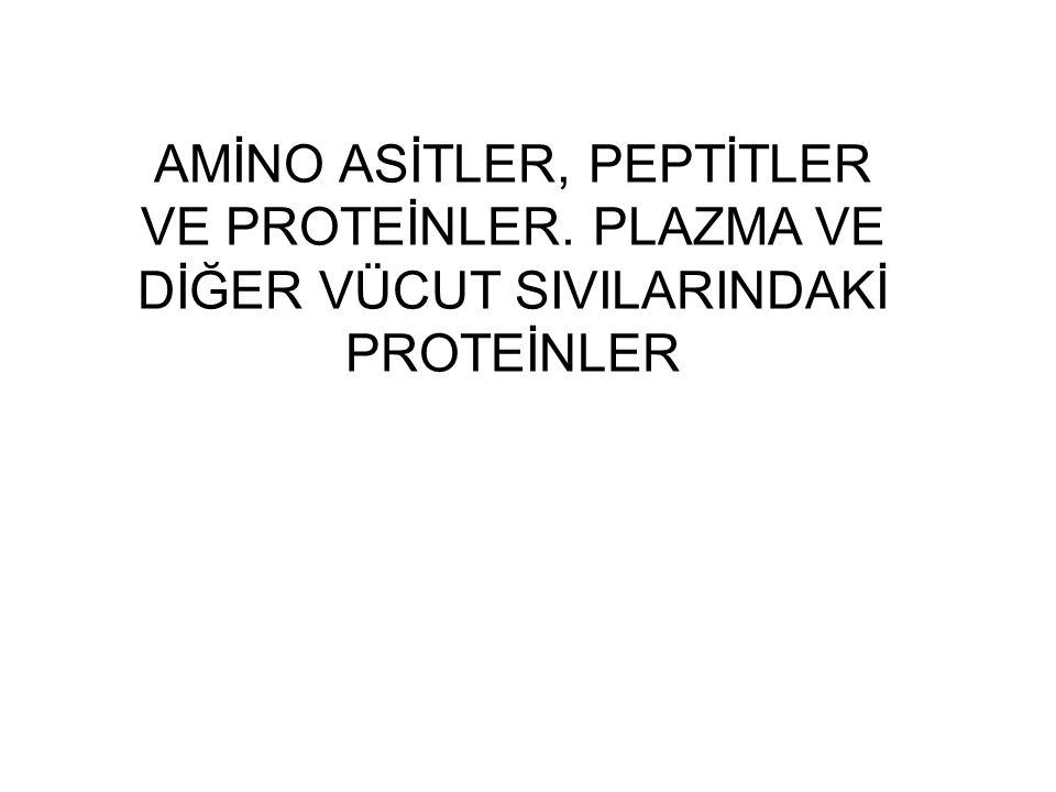 AMİNO ASİTLER, PEPTİTLER VE PROTEİNLER