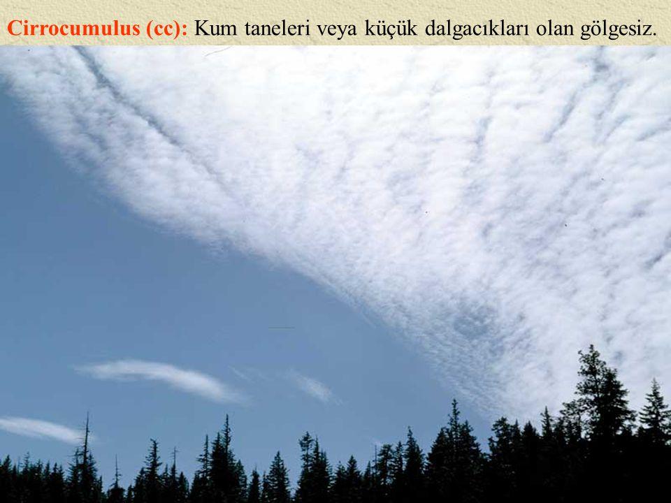 Cirrocumulus (cc): Kum taneleri veya küçük dalgacıkları olan gölgesiz.
