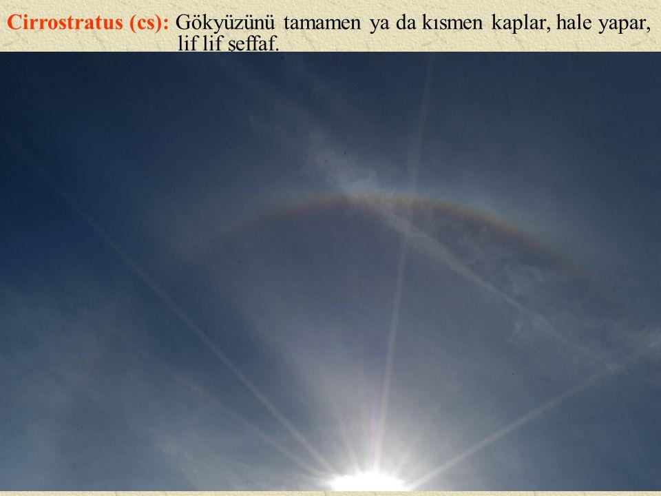 Cirrostratus (cs): Gökyüzünü tamamen ya da kısmen kaplar, hale yapar,