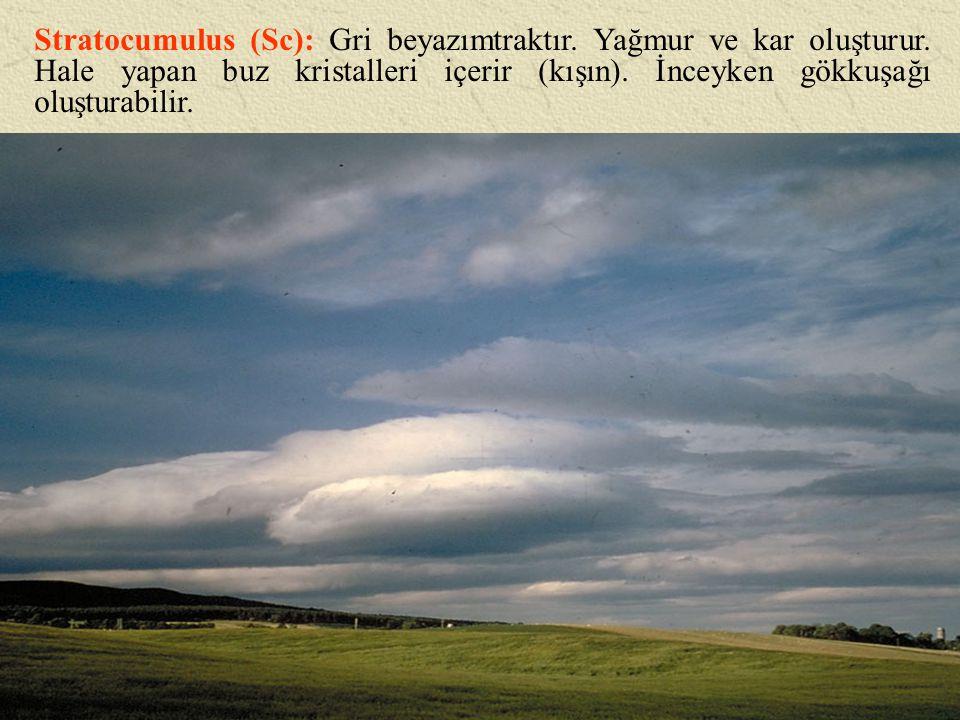 Stratocumulus (Sc): Gri beyazımtraktır. Yağmur ve kar oluşturur