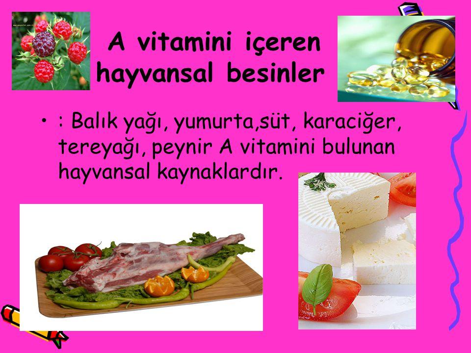 A vitamini içeren hayvansal besinler