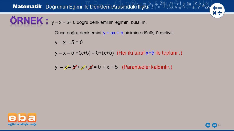 ÖRNEK : Doğrunun Eğimi ile Denklemi Arasındaki İlişki y – x – 5 = 0