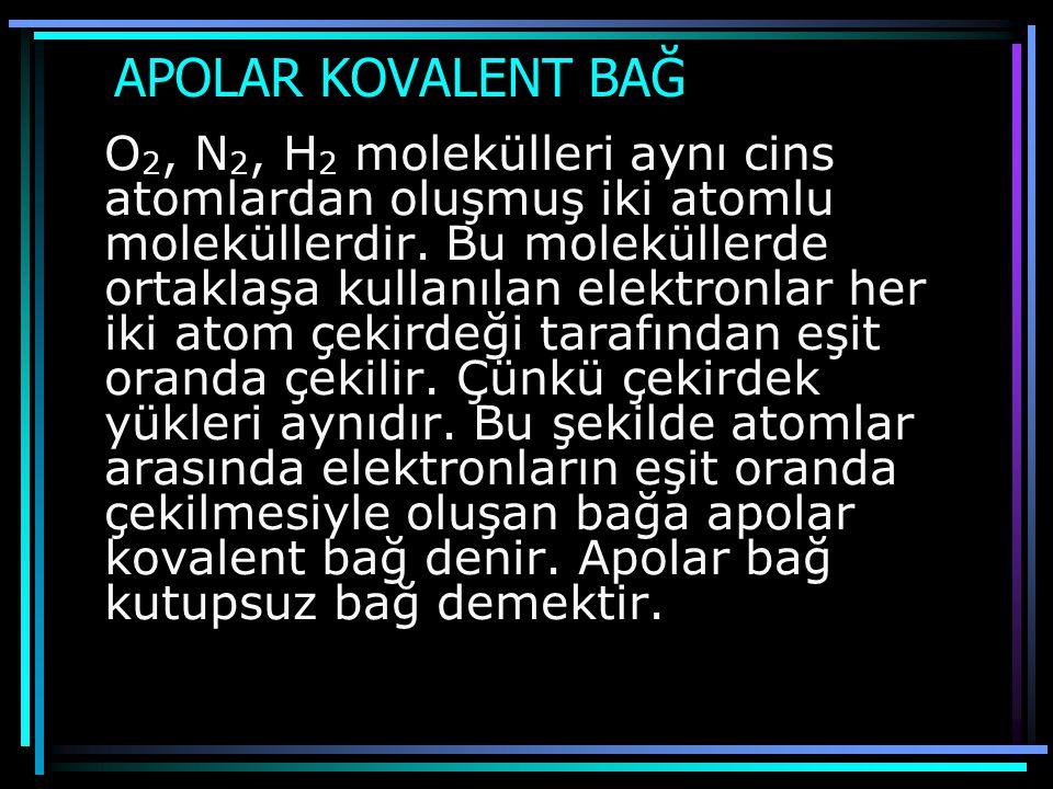 APOLAR KOVALENT BAĞ