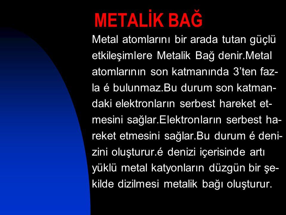 METALİK BAĞ Metal atomlarını bir arada tutan güçlü