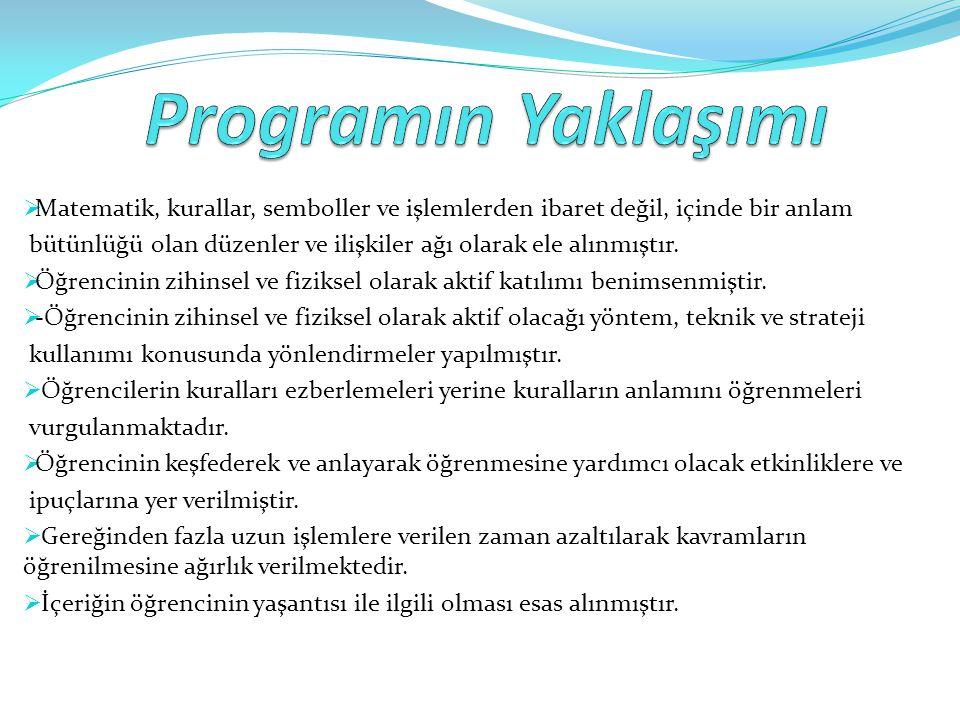 Programın Yaklaşımı Matematik, kurallar, semboller ve işlemlerden ibaret değil, içinde bir anlam.