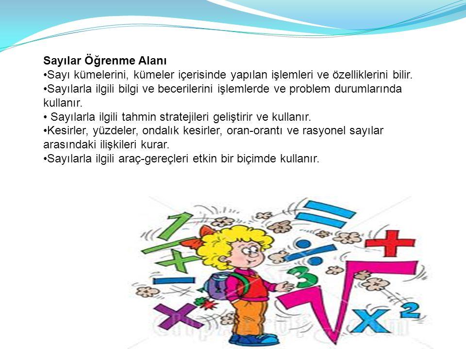 Sayılar Öğrenme Alanı •Sayı kümelerini, kümeler içerisinde yapılan işlemleri ve özelliklerini bilir.