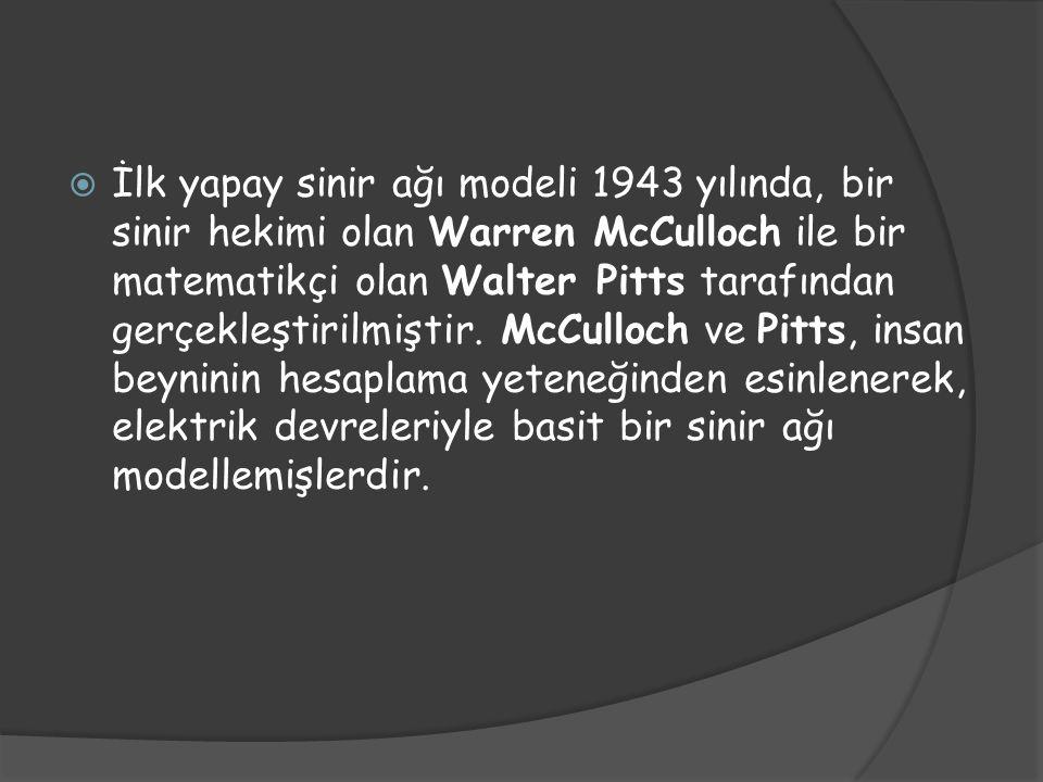 İlk yapay sinir ağı modeli 1943 yılında, bir sinir hekimi olan Warren McCulloch ile bir matematikçi olan Walter Pitts tarafından gerçekleştirilmiştir.