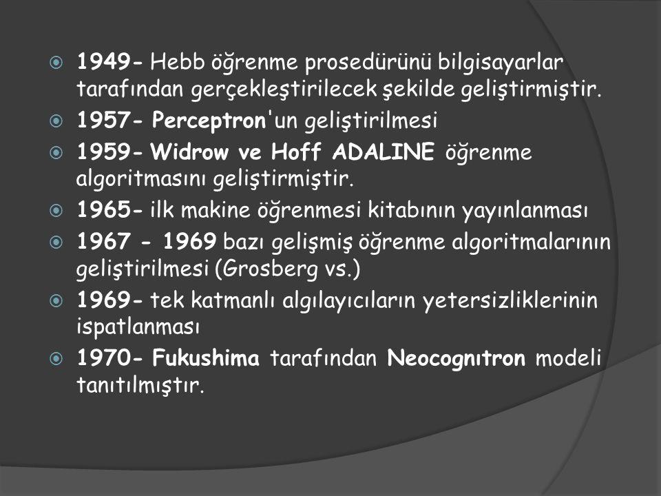 1949- Hebb öğrenme prosedürünü bilgisayarlar tarafından gerçekleştirilecek şekilde geliştirmiştir.
