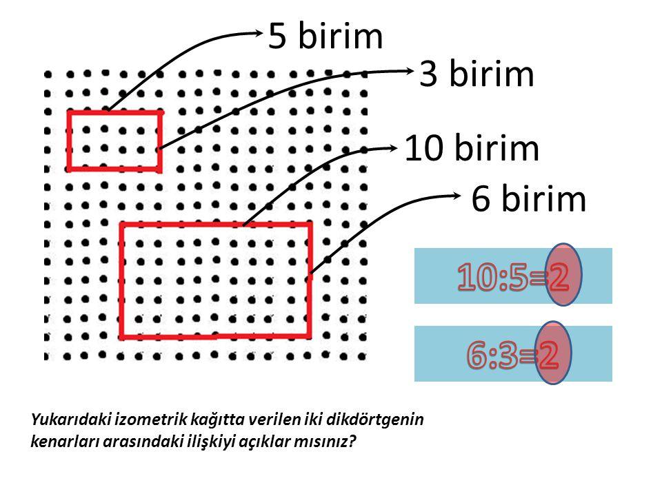 5 birim 3 birim 10 birim 6 birim 10:5=2 6:3=2