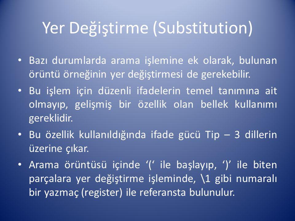 Yer Değiştirme (Substitution)