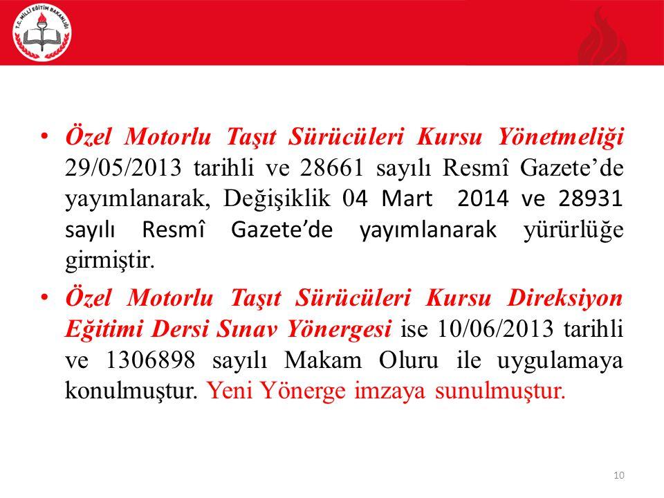 Özel Motorlu Taşıt Sürücüleri Kursu Yönetmeliği 29/05/2013 tarihli ve 28661 sayılı Resmî Gazete'de yayımlanarak, Değişiklik 04 Mart 2014 ve 28931 sayılı Resmî Gazete'de yayımlanarak yürürlüğe girmiştir.