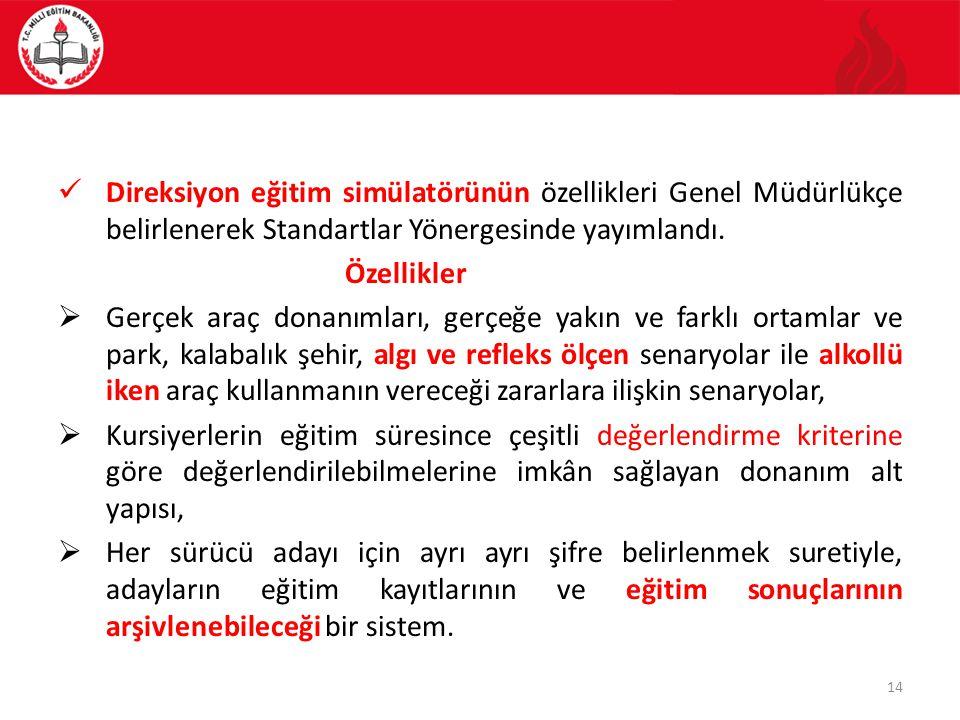 Direksiyon eğitim simülatörünün özellikleri Genel Müdürlükçe belirlenerek Standartlar Yönergesinde yayımlandı.