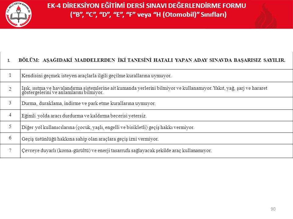 EK-4 DİREKSİYON EĞİTİMİ DERSİ SINAVI DEĞERLENDİRME FORMU ( B , C , D , E , F veya H (Otomobil) Sınıfları)
