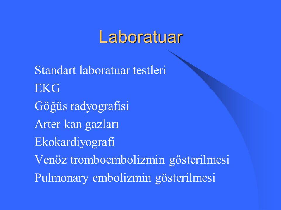 Laboratuar Standart laboratuar testleri EKG Göğüs radyografisi