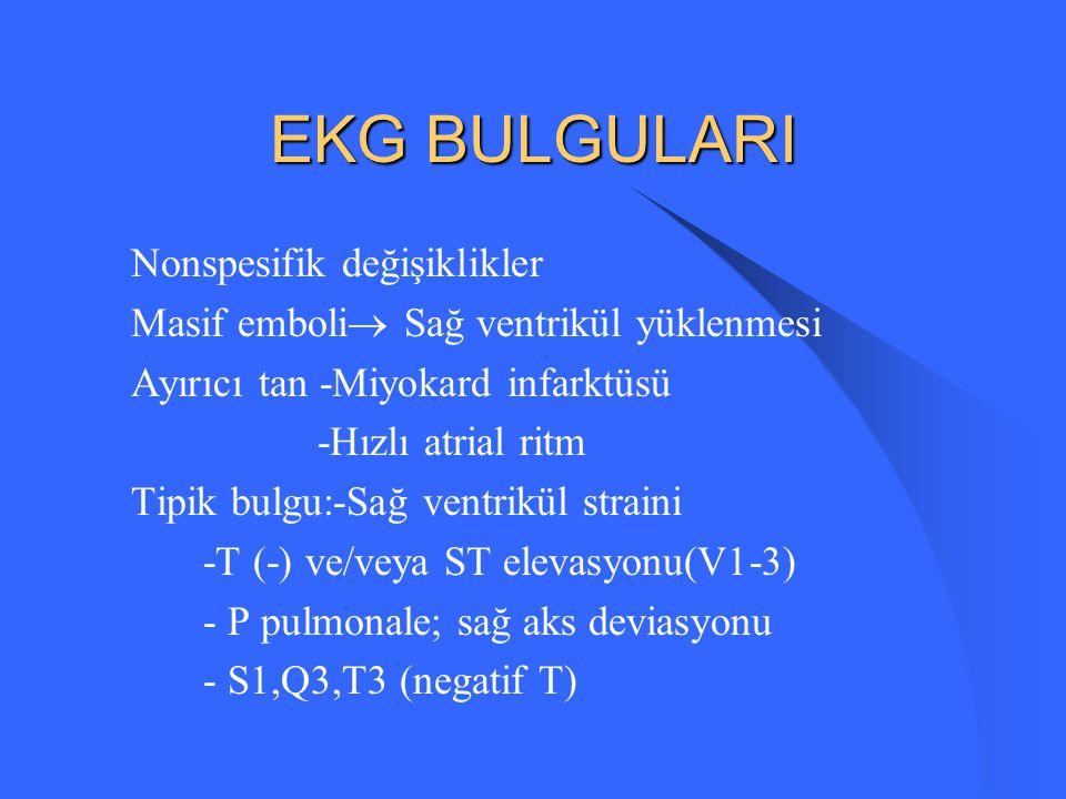 EKG BULGULARI Nonspesifik değişiklikler