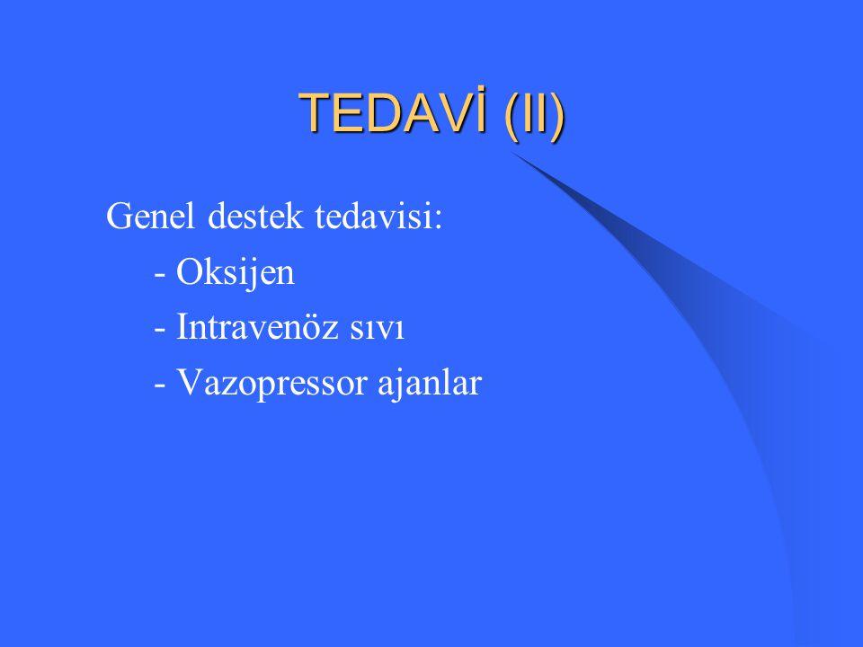 TEDAVİ (II) Genel destek tedavisi: - Oksijen - Intravenöz sıvı