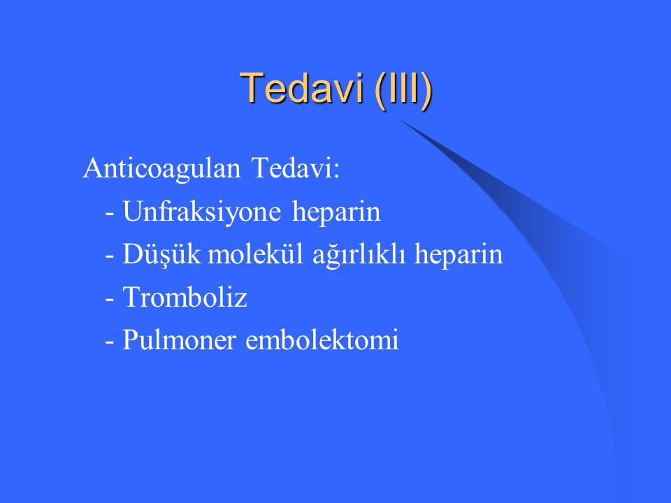 Tedavi (III) Anticoagulan Tedavi: - Unfraksiyone heparin