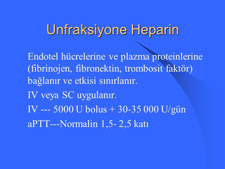 Unfraksiyone Heparin Endotel hücrelerine ve plazma proteinlerine (fibrinojen, fibronektin, trombosit faktör) bağlanır ve etkisi sınırlanır.
