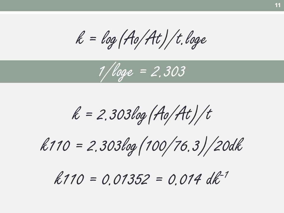 k = log(Ao/At)/t.loge 1/loge = 2.303 k = 2.303log(Ao/At)/t