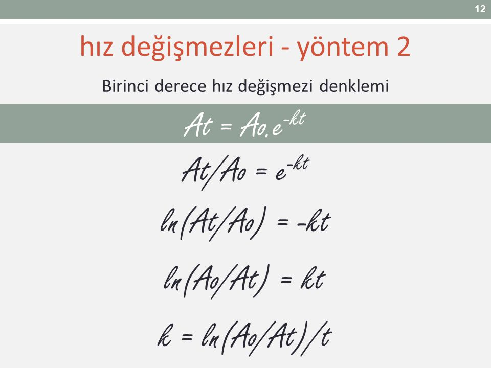 At = Ao.e-kt At/Ao = e-kt ln(At/Ao) = -kt ln(Ao/At) = kt