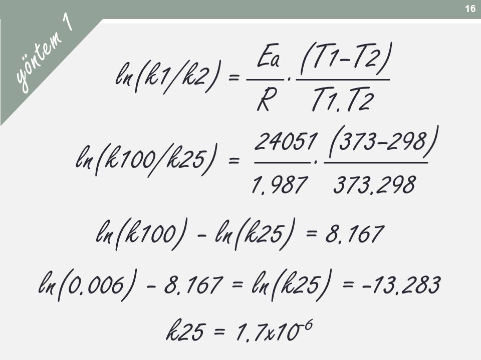 yöntem 1 Ea (T1–T2) R T1.T2 . ln(k1/k2) = 24051 (373–298) .