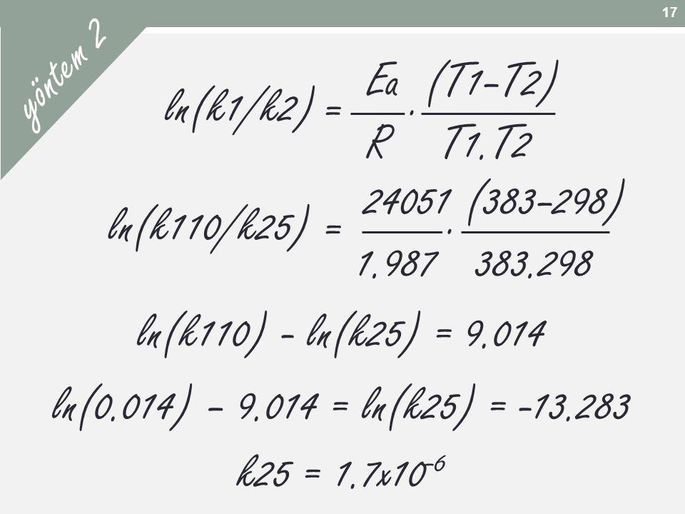 yöntem 2 Ea (T1–T2) R T1.T2 . ln(k1/k2) = 24051 (383–298) .