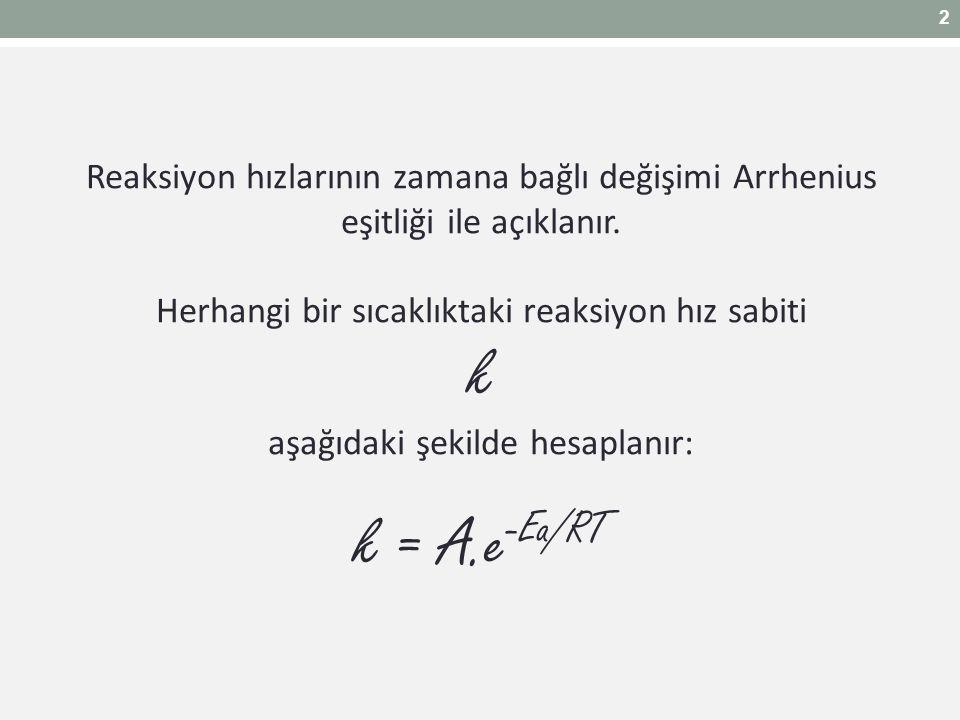 2 Reaksiyon hızlarının zamana bağlı değişimi Arrhenius eşitliği ile açıklanır. Herhangi bir sıcaklıktaki reaksiyon hız sabiti.