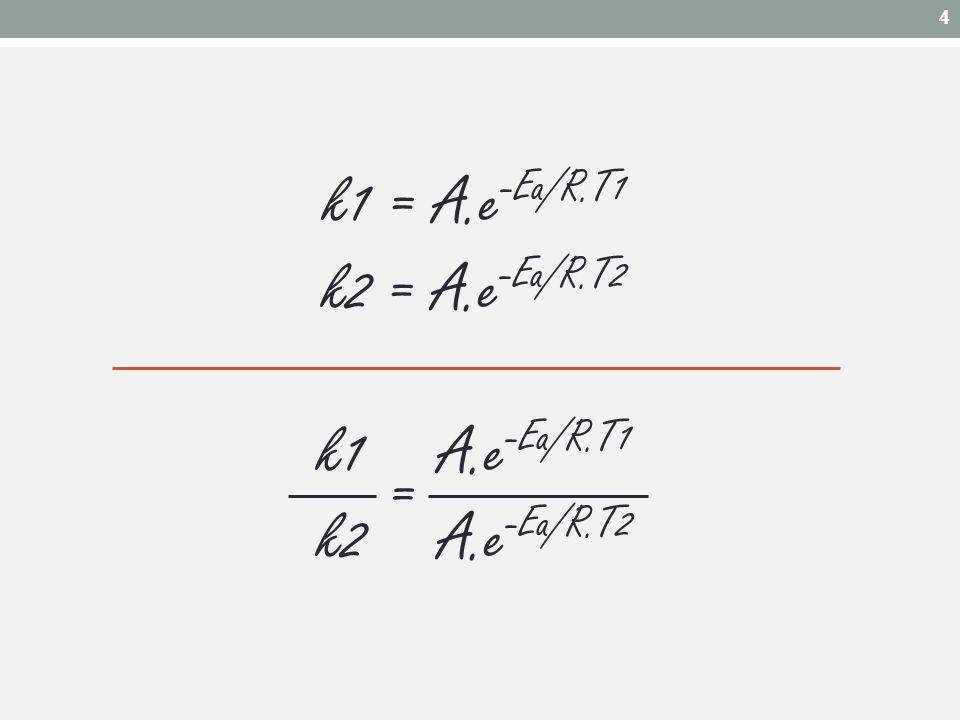 k1 = A.e-Ea/R.T1 k2 = A.e-Ea/R.T2 k1 A.e-Ea/R.T1 k2 A.e-Ea/R.T2